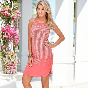 VENUS Coral Scatter Trim Mini Dress Sleeveless NWT